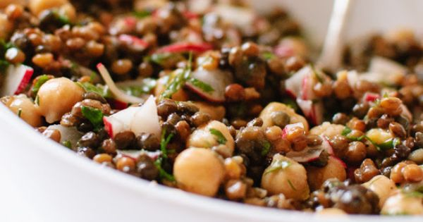 Lemony lentil and chickpea salad with radish and herbs - cookieandkate ...