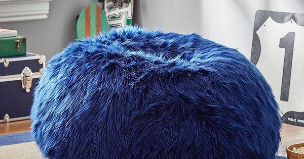 Pb Teen Navy Fur Rific Beanbag Small Slipcover Insert