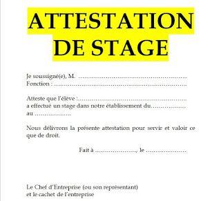 Exemples De Modele D Attestation De Stage En Word Doc Exemple Cv Lettre De Motivation Stage Lettre De Motivation