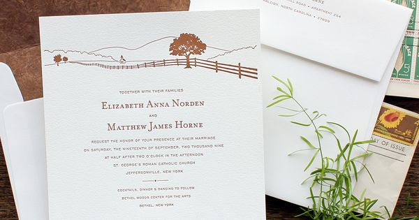 a quaint country horizon. perfect for a farm wedding. available, Wedding invitations
