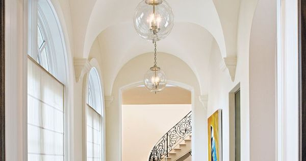 Foyer Light For Sloped Ceiling : Traditional white foyer with groin vaulted ceiling luxe