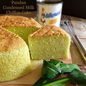 Pandan Condensed Milk Chiffon Cake 香兰炼乳威风蛋糕 Chiffon Cake Sponge Cake Recipes Food Processor Recipes