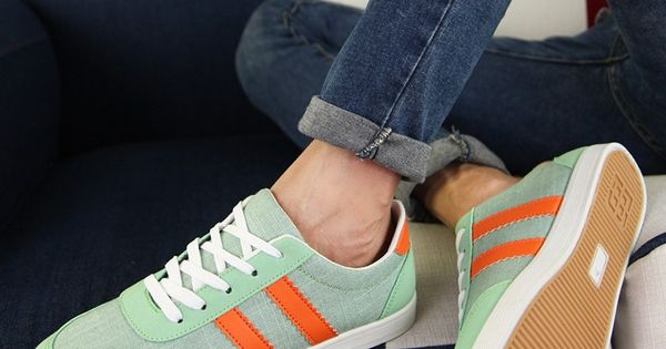 Mens #green casual lace up #sneakers sport shoes stripe pattern, canvas upper and lining. | See more about Stripe Pattern, Green Stripes and Sneakers.