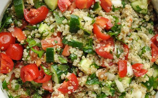 Quinoa Tabouli- 1 cup dry quinoa, rinsed, drained and cooked according to