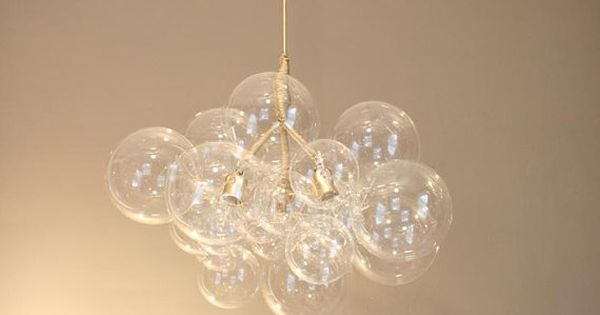 Gold Leaf Paint Glass Bubble Chandelier By