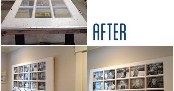cadre photos g ant dans une porte vitr e petits carreaux d coration maison pinterest. Black Bedroom Furniture Sets. Home Design Ideas