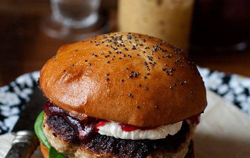 herbed turkey burger w/ goat cheese + cranberry sauce | FOOD ...