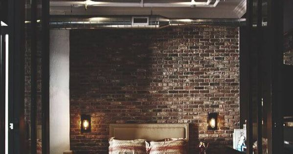 22 great bedroom decor ideas for men exposed brick for Brick accent wall bedroom