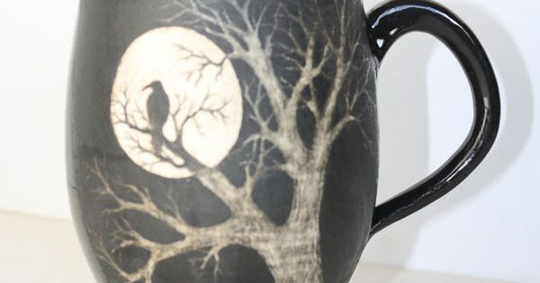 Made to Order Black and White Raven Moon Tree Mug by TheMuddyRaven