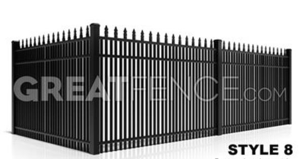 Residential Aluminum Fence Panel Style 8 Classic Spear Top 2x Vertical Pickets 1 1 2 Inches Spacing Aluminum Fence Fence Panels Backyard Fences