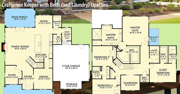 Plan 500001VV: Craftsman Keeper With Beds (and Laundry