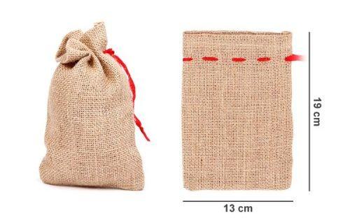 sac en toile de jute avec ruban rouge loisirs cr atifs petit sac en toile de jute pour vos. Black Bedroom Furniture Sets. Home Design Ideas