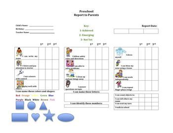 Chart Your Preschoolers Progress With This Easy To Use Colorful Report Card All Areas Of Development A Progress Report Preschool Assessment Early Childhood