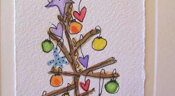 aquarell karte weihnachten ee cummings wenig baum leer mit umschlag betrueoriginals aquarell. Black Bedroom Furniture Sets. Home Design Ideas