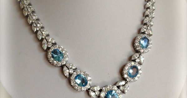 www.bkgjewelry.co... Vintage Sterling Silver Aquamarine and Diamnond Estate Jewelry Necklace by WOWTHATSBEAUTIFUL