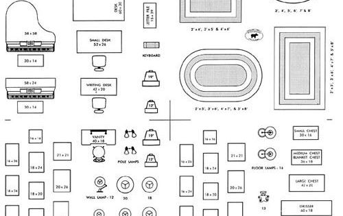 FURNITURE ARRANGING KIT 1/4 Scale Interior Design ...