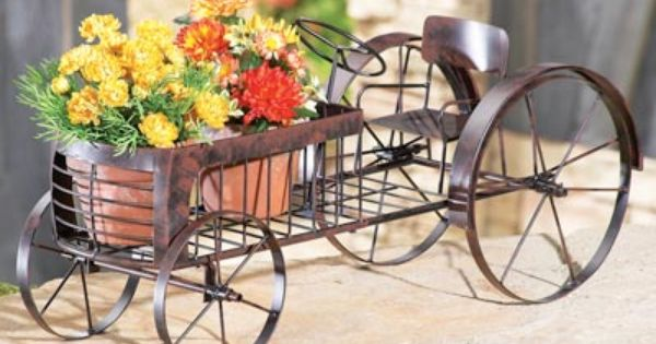 Garden Tractor Work Stand : Country tractor metal outdoor planter fall decor