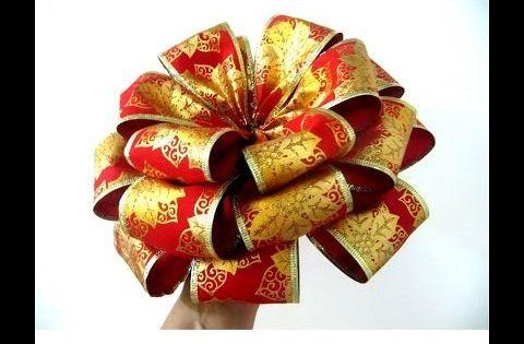 Mo os navide os con flores en cintas de organza youtube for Monos navidenos