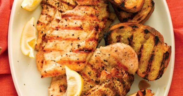 Grilled lemon chicken, Lemon chicken and Garlic bread on Pinterest