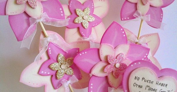 Maceta decorada flores de goma eva en tonos rosa y crudo - Goma eva decorada ...