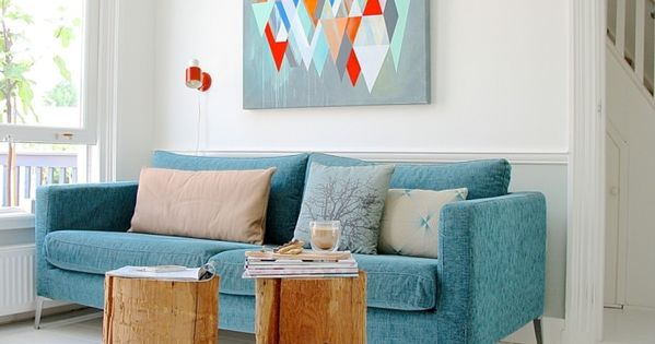 wanddesign ideen wohnideen wohnzimmer blaues sofa schöne wanddeko - moderne wandgestaltung wohnzimmer lila