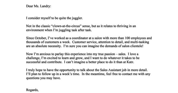 Cover Letter Example Of A New Graduate Looking For A Position In Sales