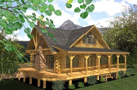 Log cabin home with wrap around porch marley is going to for Full wrap around porch log homes