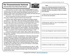 Transcontinental Railroad Reading Comprehension Comprehension