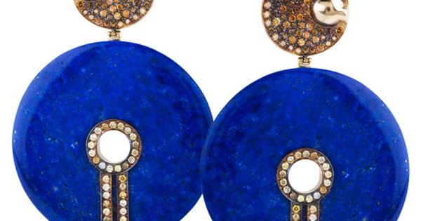 lapis & diamond earrings