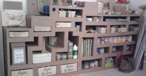 Meuble atelier avec du carton pinterest atelier for Atelier du meuble