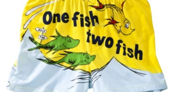 Mens Dr Seuss One Fish Two Boxer Yellow Clothes