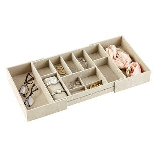 Large Expandable Stackers Jewelry Storage Tray The Container Store Jewelry Drawer Jewellery Storage Jewelry Tray