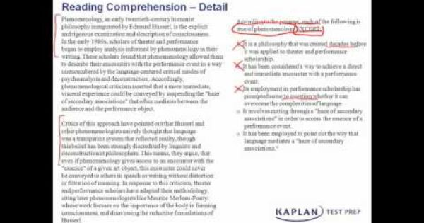 Reading Comprehension Practice: Detail Questions   Kaplan Test Prep ...
