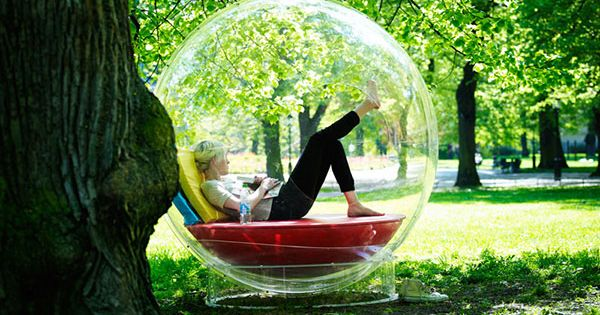 I want this bubble! Shelter from the wind/rain, but still outside! --