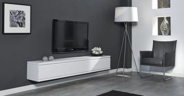Meuble tv design suspendu flow blanc mat atylia prix for Atylia meuble tv