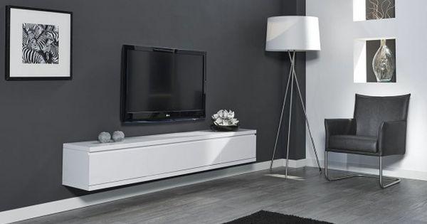 Meuble tv design suspendu flow blanc mat atylia prix - Meuble tv amplifie but ...