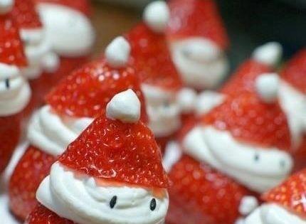 Strawberry Santas... cute idea for a healthy Christmas treat
