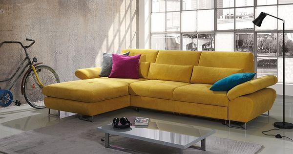 canap d 39 angle convertible en tissu jaune moutarde domizio avec coffre de rangement. Black Bedroom Furniture Sets. Home Design Ideas
