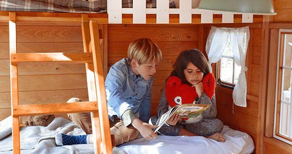 Interior casita de madera infantil florida con 2 literas - Casa madera infantil ...