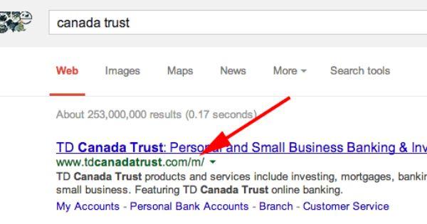 Mistake Shows Td Canada Trust Mobile Site In Google Desktop