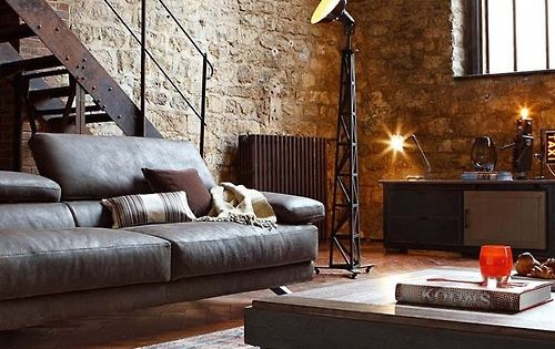 I want that floor lamp, that stone wall and those iron stairs.