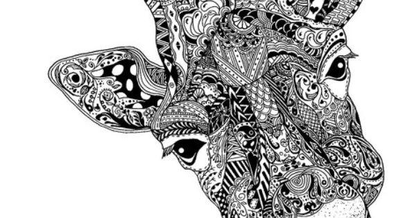 Mandalas Para Colorear Con Animales Y Zentangles: Zentangle Giraffe
