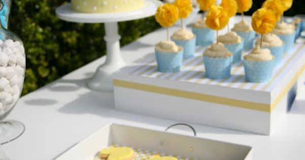 Blue and yellow sweet table for a first birthday. Love the stripes