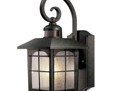 Hampton Bay 180 Degree 1 Light Aged Iron Outdoor Motion Sensing Wall Mount Lantern Wall
