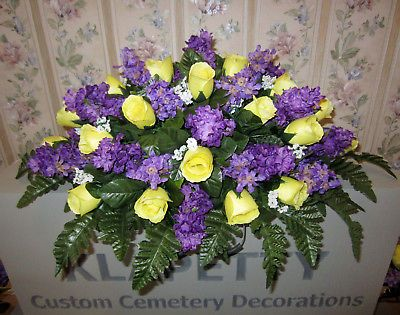 Xmas Grave Pot Artificial Flower Memorial Arrangements Bird Graveside Tribute x2