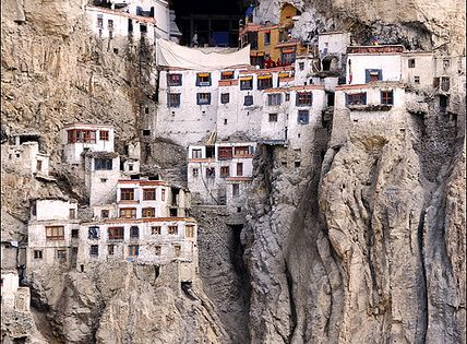 Phuktal Monastery during monsoon season. Phugtal Monastery or Phugtal Gompa is a