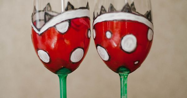 Piranha plants DIY toasting glasses! I might just make a set of