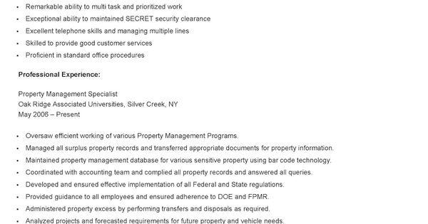 sample property management specialist resume resame