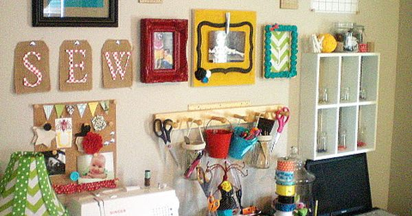 small craft space cute organized space and project display