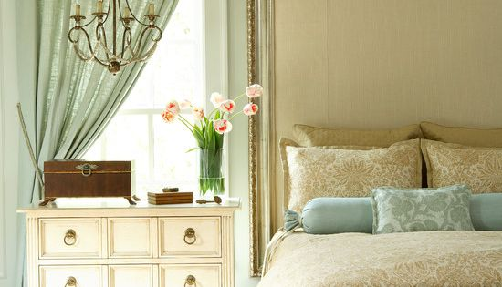 Curtain Headboard Ideas | ... Curtains and Brown Bedding Sets in Bedroom